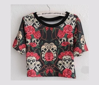 t-shirt skull rose roses top shirt rock grunge alternative