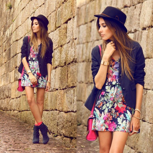 dress floral dress hat sunglasses coat