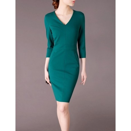 Green Elegant Noble Summer OL Slim Women Fashion Dress lml7021 - ott-123 - Global Online Shopping for Dresses