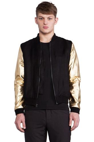 jacket black gold bomber jacket metallic contrast sleeves colorblock leather leather jacket faux leather sleeves menswear mens jacket
