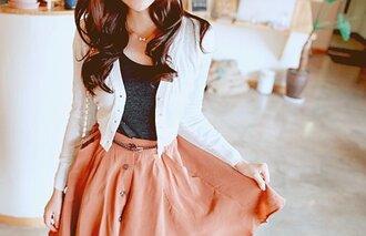 skirt jacket white jacket skater skirt coral skirt blouse cute belt peach skirt white sweater long sleeves cardigan shirt white button up grey button up skirt dress korean fashion ulzzang coat girly cute