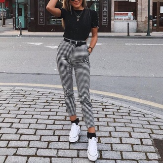 jeans gingham checkered monochrome cropped trousers trouser chinos