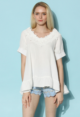top chicwish summer top spring top white top retro top chicwish.com white t-shirt