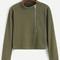 Army green mock neck zip front t-shirt -shein(sheinside)