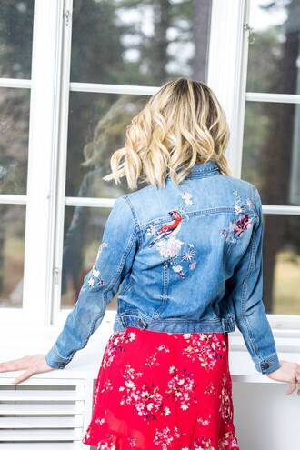 jacket tumblr denim jacket denim blue jacket dress red dress mini dress red mini dress floral floral dress embroidered jacket embroidered