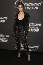 pants,top,blazer,black blazer,hailee steinfeld,pumps,two-piece,suit