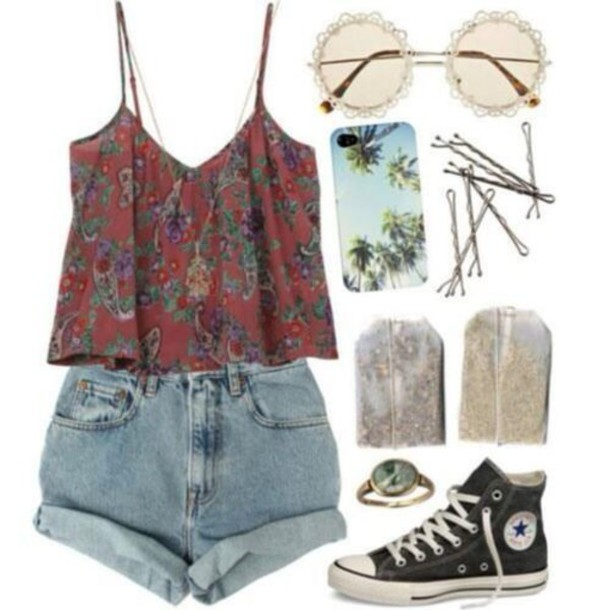 tank top red top cami top shorts allstars sunglasses jewels