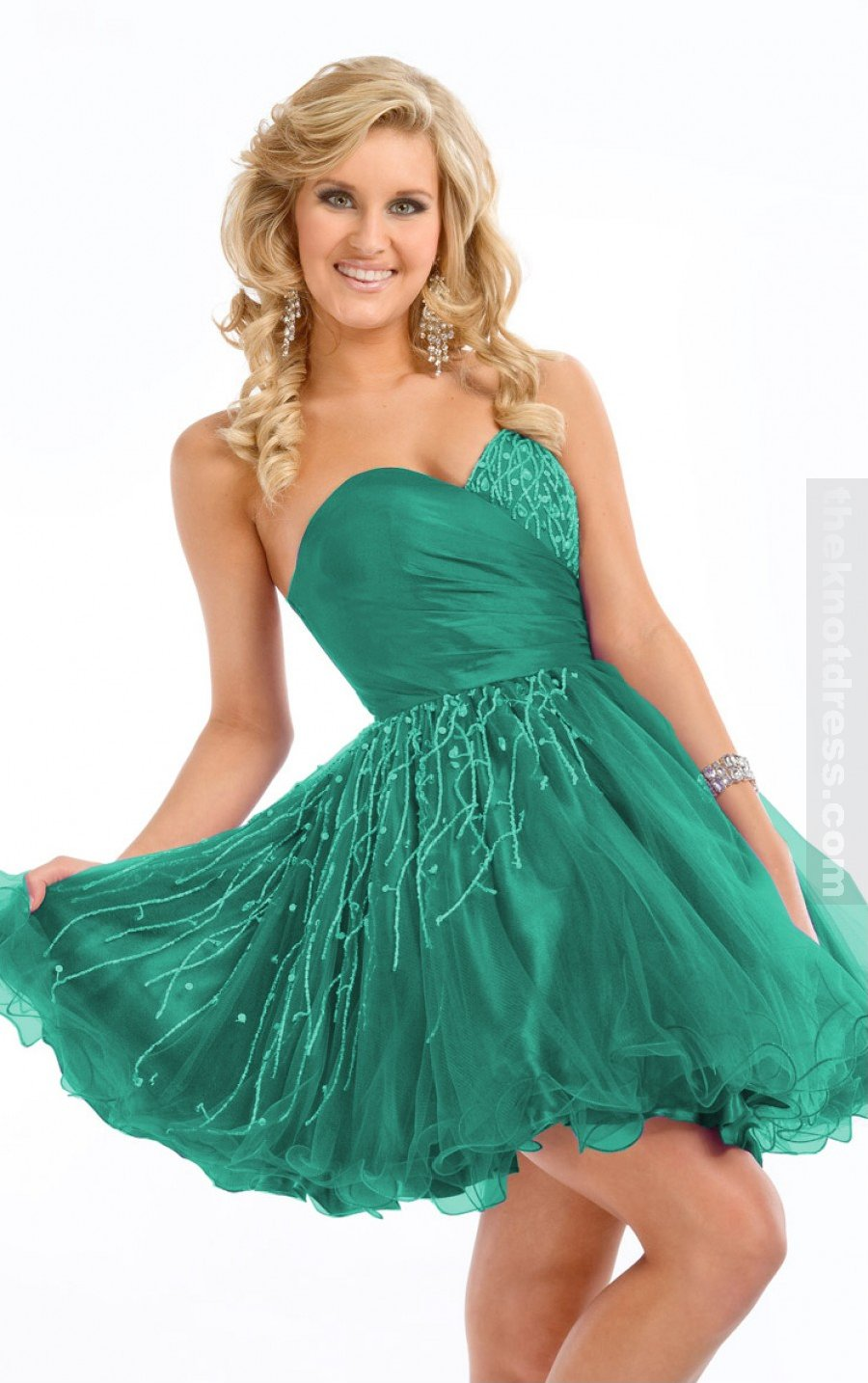 Dark Green Princess Knee-length Sweetheart Dress, Cheap Party Dresses Uk