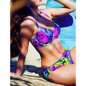swimwear,rose wholesale,curvy,plus size,summer,floral,vintage,neon,blue,bikini,pink,trendy