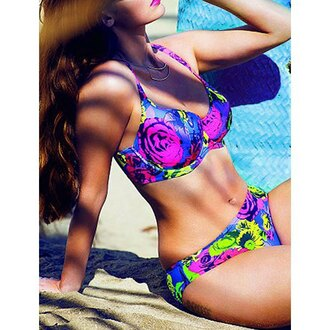 swimwear rose wholesale curvy plus size summer floral vintage neon blue bikini pink trendy