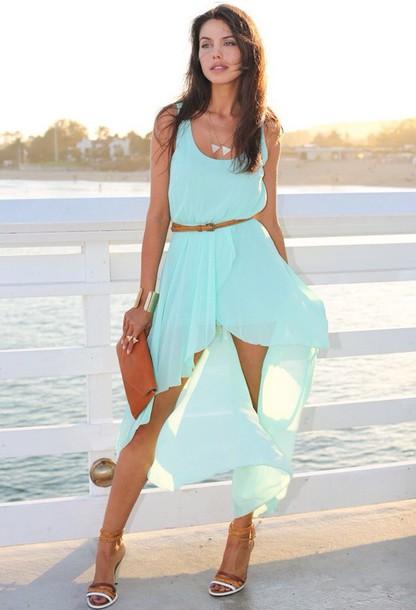 dress light blue silk