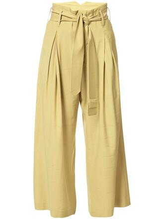high women spandex wool yellow orange pants