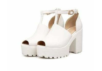 shoes high heels chunky heels vintage shoes for her t-strap heels white shoes