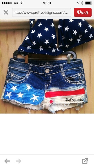 shorts american flag shorts red white and blue american flag country style country girl cut off shorts