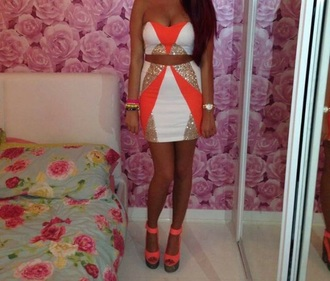 dress orange gold glitter white dress two-piece fashion gorgeous bralette skirt