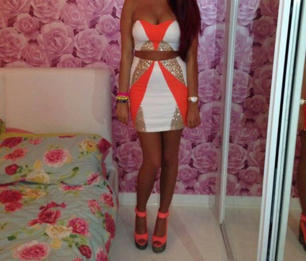 dress orange gold glitter white dress two-piece fashion gorgeous bralette skirt