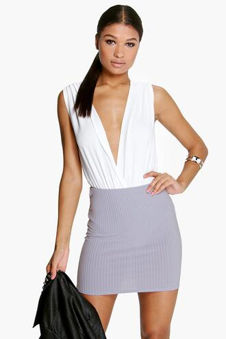 skirt boohoo skirt grey skirt mini skirt grey mini skirt