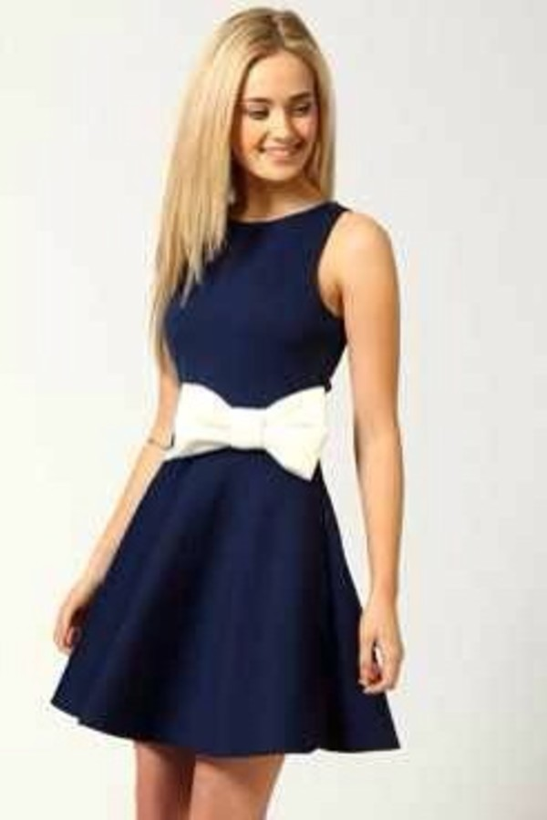 dress navy bow bows white bow navy dress bow dress cocktail dress gorgeous smile