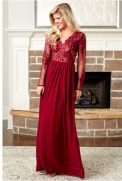 dress,burgundy dress,lace dress,maxi dress,special occasion dress