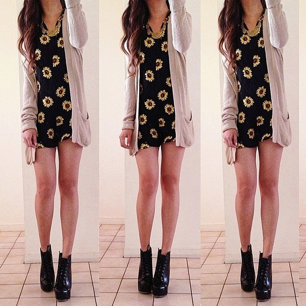 dress sunflower black cardigan sweater