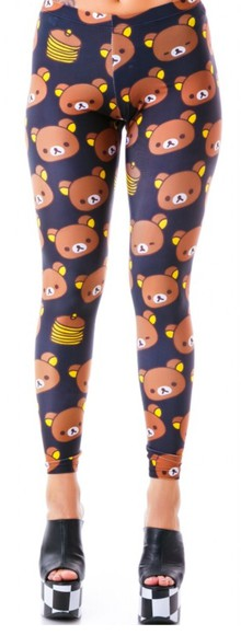 printed leggings leggings kawaii Pankakes bear