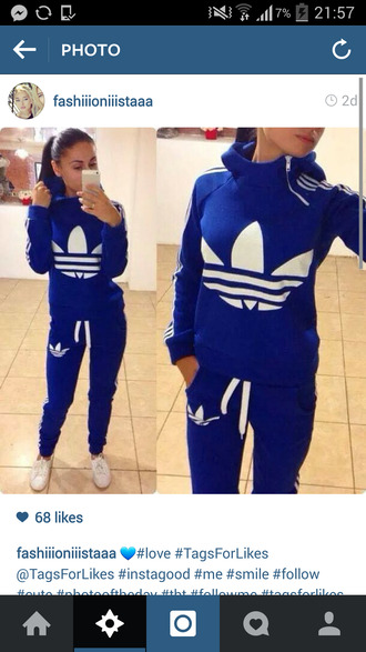 sweater leggings jumpsuit adidas pants blue white adidas jumpsuit tracksuit blue sweatpants sweatshirt sportswear royal blue flee dress adidas pants adidas sweater adidas originals joggers t-shirt