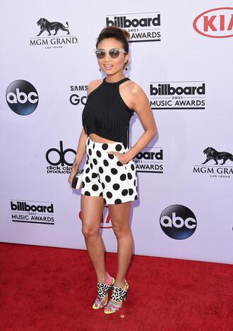 shorts top billboard music awards polka dots sandals crop tops jeannie mai shoes