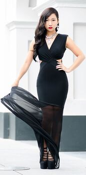 dress,black dress,bodycon,maxi dress,see through dress,v neck dress
