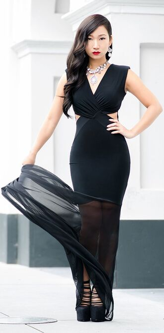 dress black dress bodycon maxi dress see through dress v neck dress