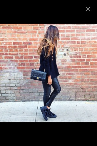 pants ombre hair leather purse bag blouse black blouse sneakers shoes black shoes leather pants
