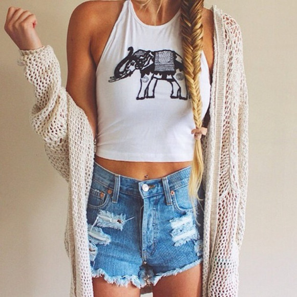 elephant top beachy tank beachy style summer outfits summer top summer shirt beach elephants shirt cardigan shorts blouse halter neck