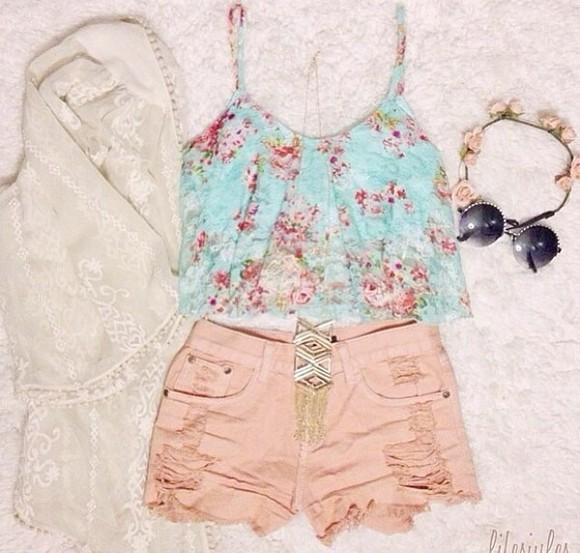 cardigan shirt floral mint green pastel green pink pastel pink shorts kimono hippie chic