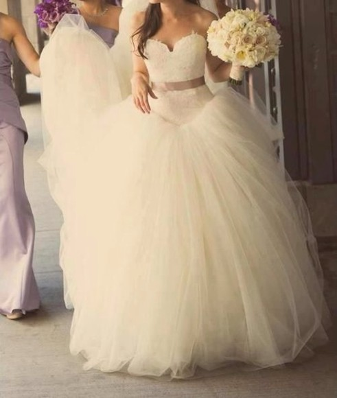 dress white dress wedding dress lace top wedding dress princess wedding dresses poofy dress wedding gown ball gown wedding dresses cute dress formal