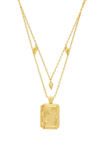 Wanderlust + Co Zalea Locket Necklace in gold / metallic