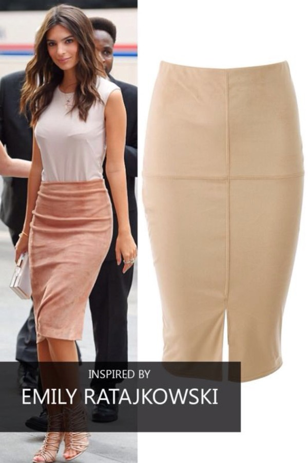 Skirt: women, summer, bodycon dress, bodycon skirt, khaki, midi ...