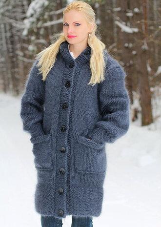 cardigan supertanya grey hood coat jacket sweater mohair angora wool alpaca cashmere hand made knit