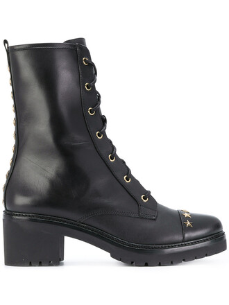 studded women boots leather black shoes