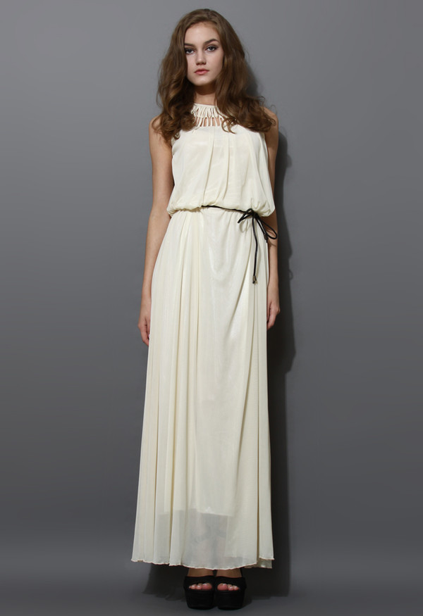 dress cage cut-out neckline maxi ivory