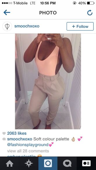 urban outfitters american apparel top salmon pink bodysut pale pink body suit forever 21 kim kardashian bodysuit side boob