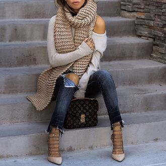 scarf tumblr knitted scarf top nude top jeans blue jeans denim ripped jeans lace up heels high heels bag louis vuitton louis vuitton bag