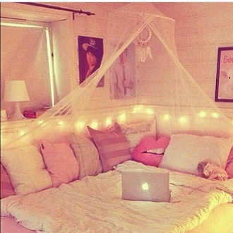 pajamas bedding home decor hair accessory home accessory cute comfy decoration white pillow lips pink bedroom girly canopy girly wishlist tumblr tumblr room tumblr bedroom white lace