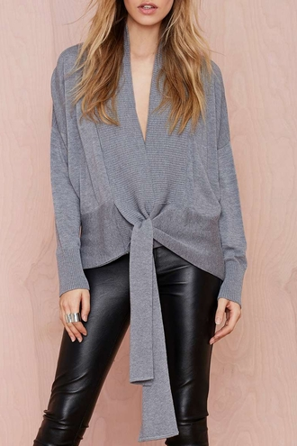 sweater kimono grey grey sweater leather leather leggings chic casual streetwear streetstyle
