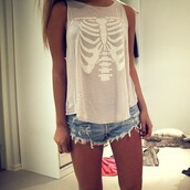t-shirt,rib bone,rib bones,rib,ribs,shirt,tumblr,hipster,shorts,tank top,top,skull,skeleton,beige,cream,grey,white,girl,blonde hair,clothes,fashion,wildfox,pink,short,skinny,summer,xray,bones,withe,perf,pretty,grey shirt,muscle tee,skelet,ribs bones xray,ribcage,rib cage,summer outfits,science,pastel pink,skeleton shirt,skeleton tee,grunge,white top,skeleton top,hipster top