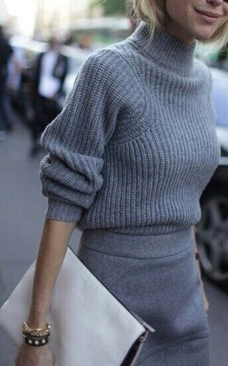 sweater grey knitted sweater skirt grey outerwear turtleneck knitwear knitted sweater clutch all grey outfit all grey everything grey sweater grey skirt bag fall outfits