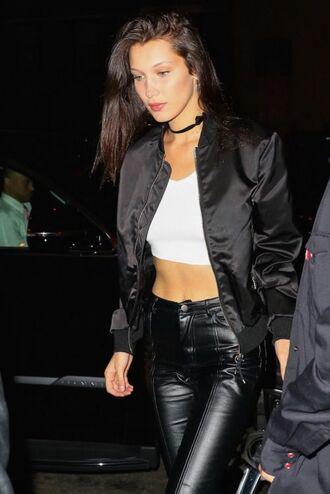 jacket top bella hadid celebrity style celebrity model satin bomber bomber jacket black jacket black bomber jacket crop tops white crop tops leather pants pants black pants choker necklace metallic bomber
