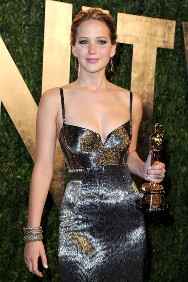 dress metallic dress jennifer lawrence calvin klein dress prom dress jewels
