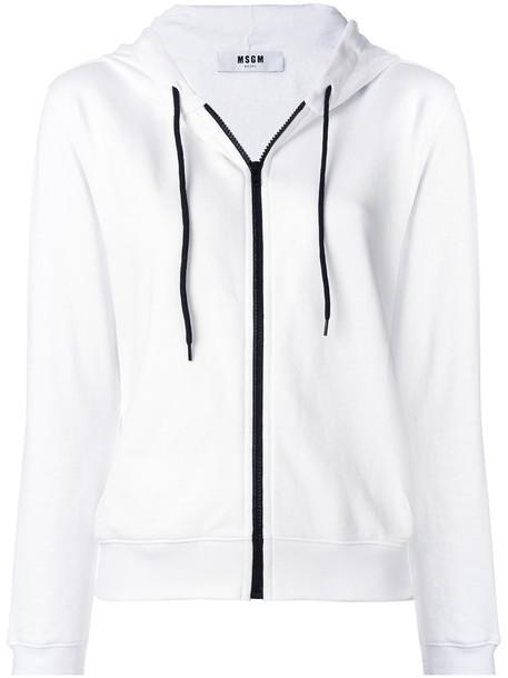 MSGM - zip-up logo hoodie - women - Cotton - XS, White, Cotton