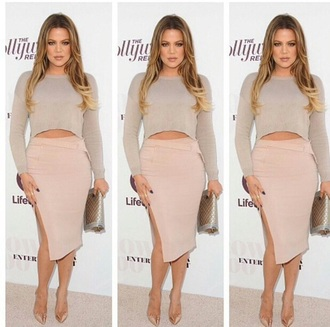 khloe kardashian slit skirt pencil skirt skirt blouse top shoes bag shirt