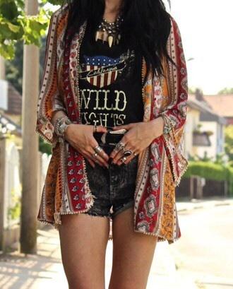 shirt black grunge kimono shorts top necklace pattern