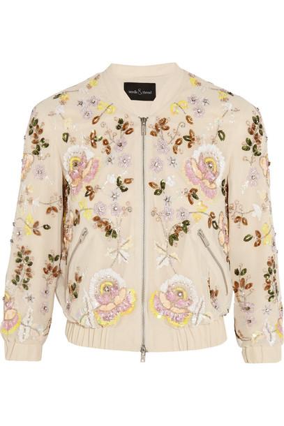 Needle & Thread jacket bomber jacket embellished pastel pink pastel pink